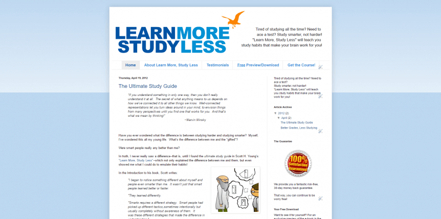 Learn More, Study Less Home page
