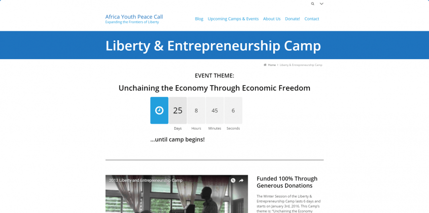 Africa Youth Peace Call - Liberty & Entrepreneurship Camp