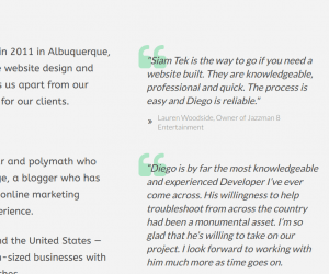 Siam Tek Website - About Page Testimonials