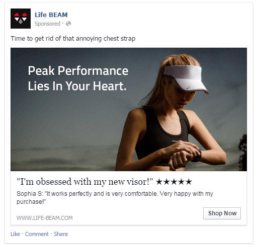 Life Beam - Facebook Post / Ad Testimonial Example